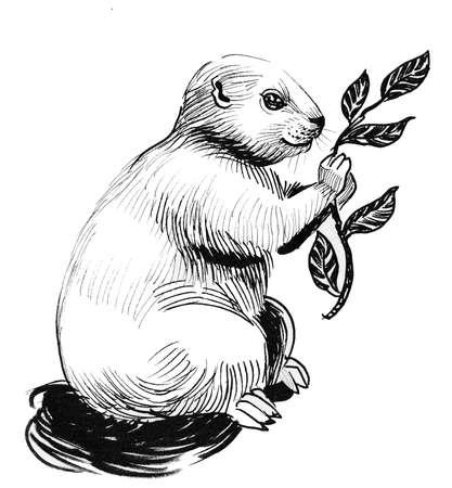 Cute animal eating leaves illustration.