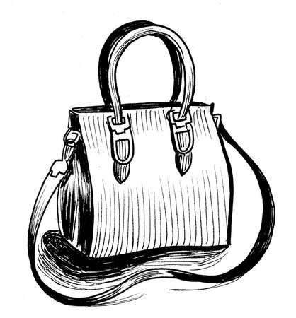 Leather vanity bag illustration.