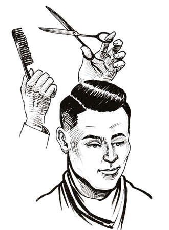 Barber's hands with scissors and comb and client's head. Stok Fotoğraf