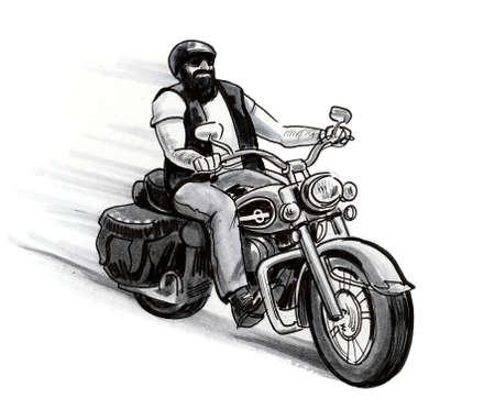 Biker on vintage American motorcycle.