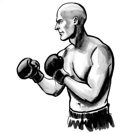 Boxing athlete illustration.