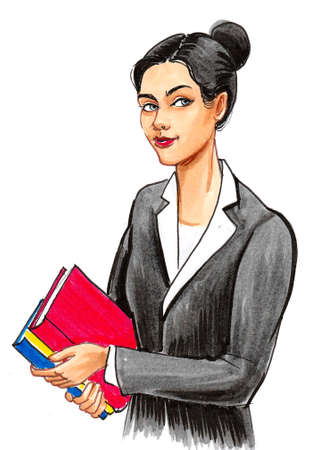 Pretty businesswoman with colorful folders.