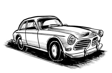 Vintage American car. Ink black and white drawing