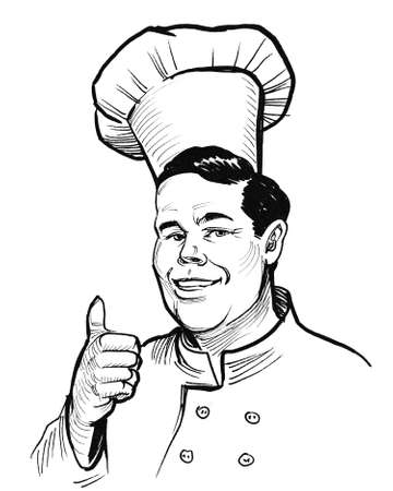 Chef character showing big thumb. Ink black and white drawing