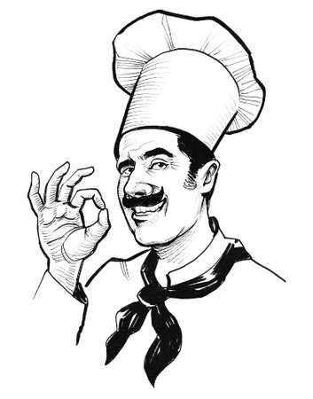 Chef character showing okay sign. Ink black and white drawing