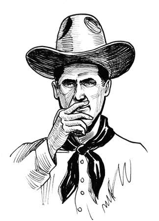Cowboy smoking cigarette. Ink black and white drawing Stok Fotoğraf