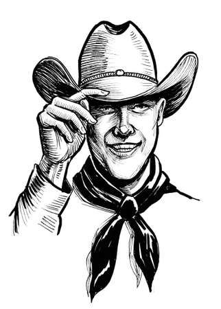 Cowboy greeting hat by raising hat. Ink black and white drawing