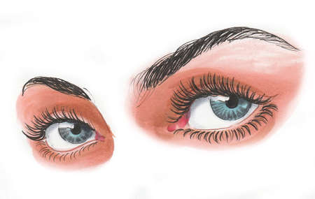 Beautiful women eyes. Ink and watercolor drawing