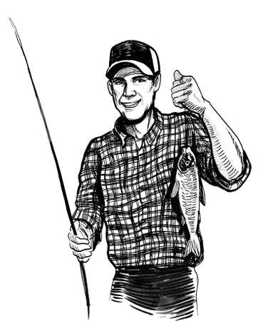 Fisherman holding caught fish. Ink black and white drawing Stok Fotoğraf