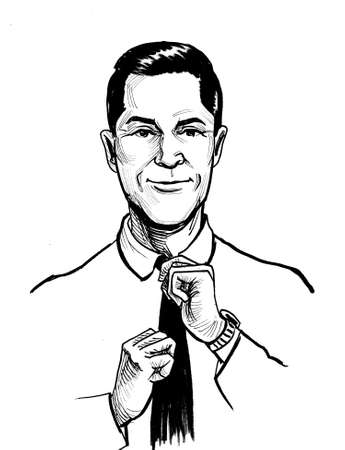 Handsome man tying black tie. Ink black and white drawing Stok Fotoğraf