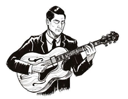 Musician playing electric guitar. Ink black and white drawing Stok Fotoğraf