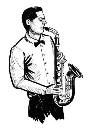 Musician playing saxophone. Ink black and white drawing