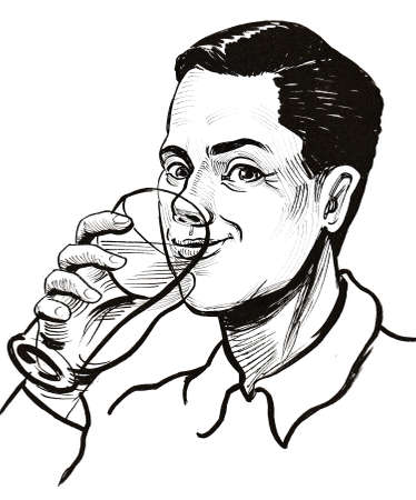 happy smiling man drinking a pint glass of beer. Ink black and white drawing