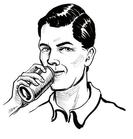 Young man drinking soda beverage from the bottle. Ink black and white drawing