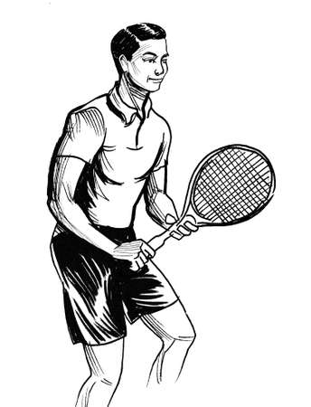 Sportsman playing tennis. Ink black and white drawing