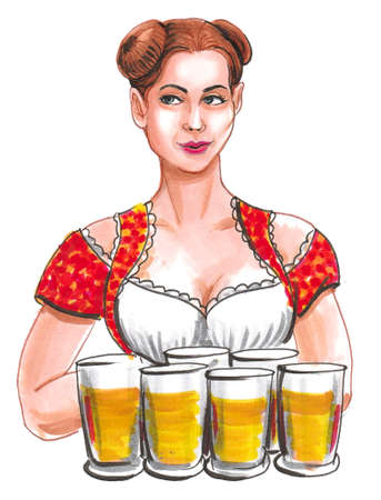 Pretty German waitress with a beer mugs. Ink and watercolor drawing