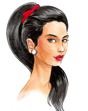 Pretty brunette woman. Ink and watercolor drawing Stok Fotoğraf
