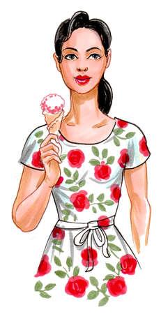 Pretty woman with an ice cream. Stok Fotoğraf