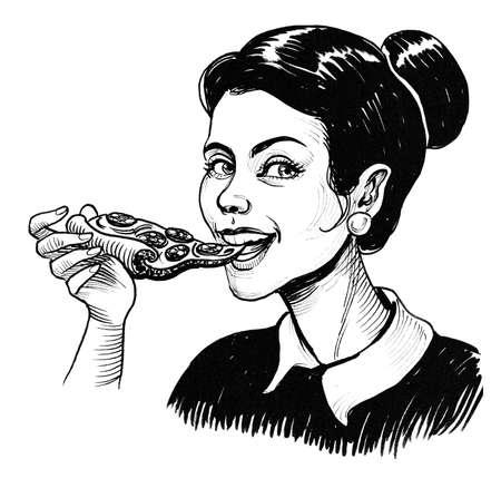Pretty happy girl biting a piece of pizza. Stok Fotoğraf