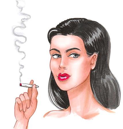 Beautiful brunette woman smoking marijuana joint. Ink and watercolor drawing