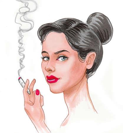 Pretty woman smoking marijuana joint. Ink and watercolor drawing