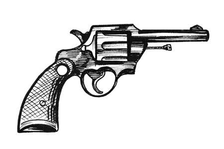 Revolver gun. Ink black and white drawing