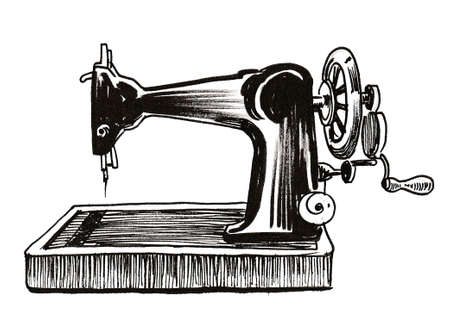 Retro sewing machine. Ink black and white drawing