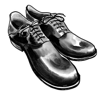 Pair of black classic, shoes. Ink and watercolor drawing Zdjęcie Seryjne