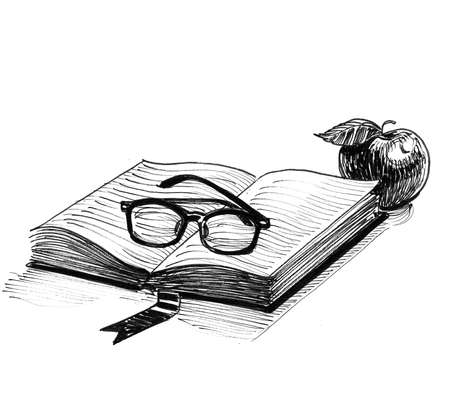 Opened book, glasses and apple fruit. Ink black and white drawing
