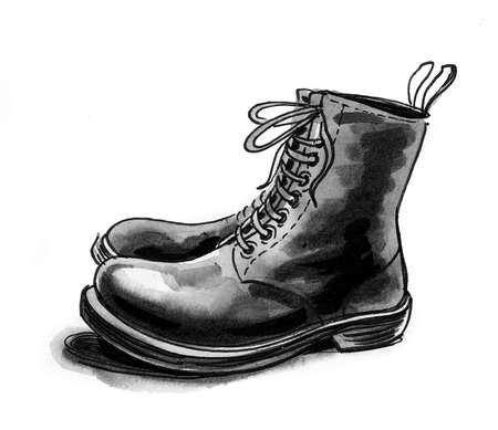 Pair of military boots. Ink and watercolor drawing Standard-Bild