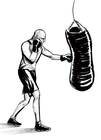 Boxing athlete punching heavy bag. Ink black and white drawing