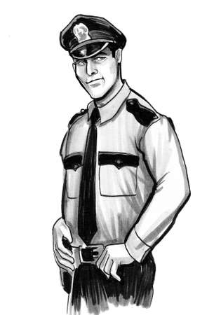 American police officer. Ink black and white drawing Standard-Bild