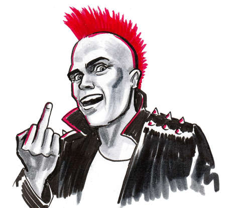 Punk showing middle finger. Ink and watercolor drawing