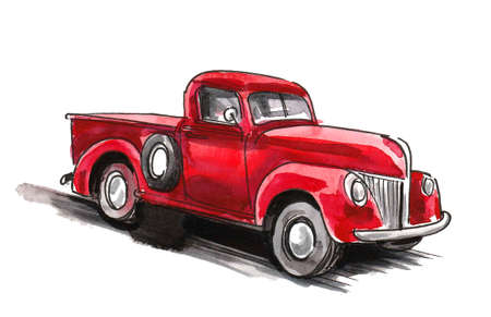 Old red American truck. Ink and watercolor drawing