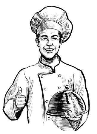 Happy smiling restaurant chef with a meal. Ink black and white drawing Standard-Bild