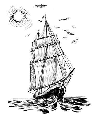 Tall sailing ship. Ink black and white drawing