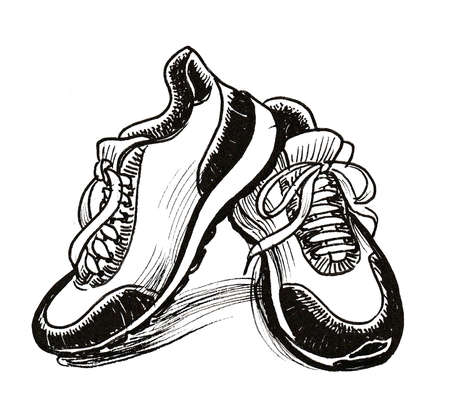 Pair of sport shoes. Ink black and white drawing