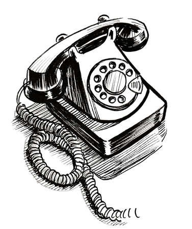Retro telephone. Ink black and white drawing Stok Fotoğraf