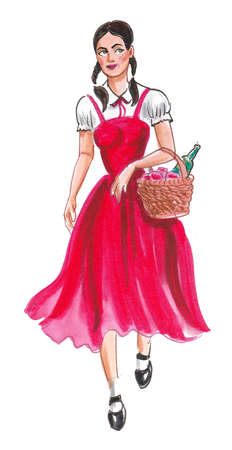 Pretty girl in red dress carrying a food basket. Ink and watercolor drawing