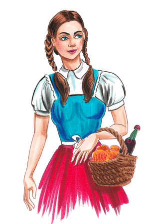 Pretty girl with picnic basket. Ink and watercolor drawing