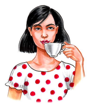 Pretty brunette girl having a cup of tea. Ink and watercolor drawing