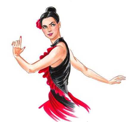 Beautiful Flamenco dancer. Ink and watercolor drawing