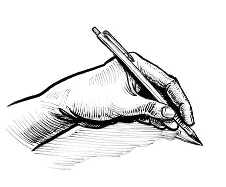Hand writing with a pen. Ink black and white drawing