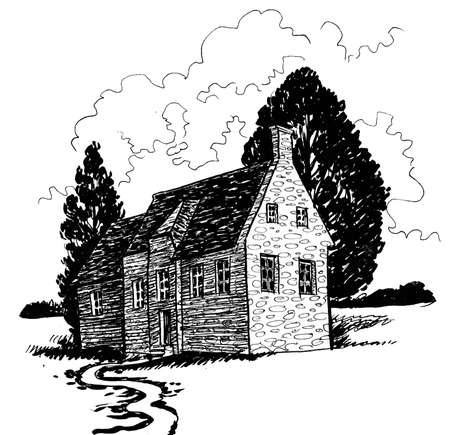 Old house and tress. Ink black and white drawing