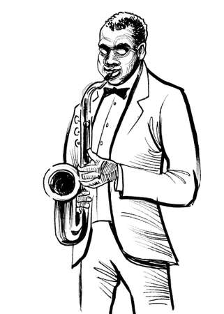 African American musician playing saxophone. Ink black and white drawing