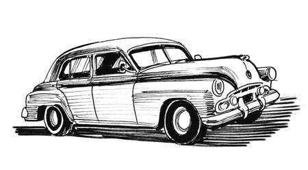 Vintage luxury automobile. Ink black and white drawing Stok Fotoğraf