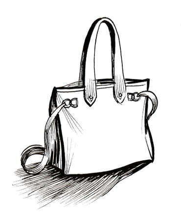 Leather bag. Ink black and white drawing