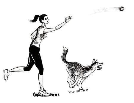 Girl playing with a husky dog. Ink black and white drawing