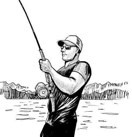 Man with a fishing rod. Ink black and white drawing
