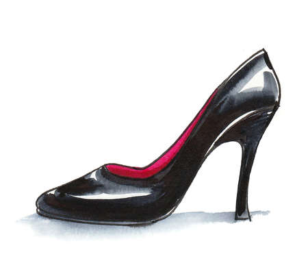 Black high heel shoe. Ink and watercolor drawing Standard-Bild